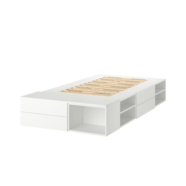 PLATSA Bed frame with 4 drawers, white/Fonnes, 142x244x43 cm