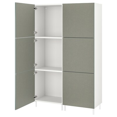 PLATSA Wardrobe w 6 doors, white/Klubbukt grey-green, 120x42x191 cm