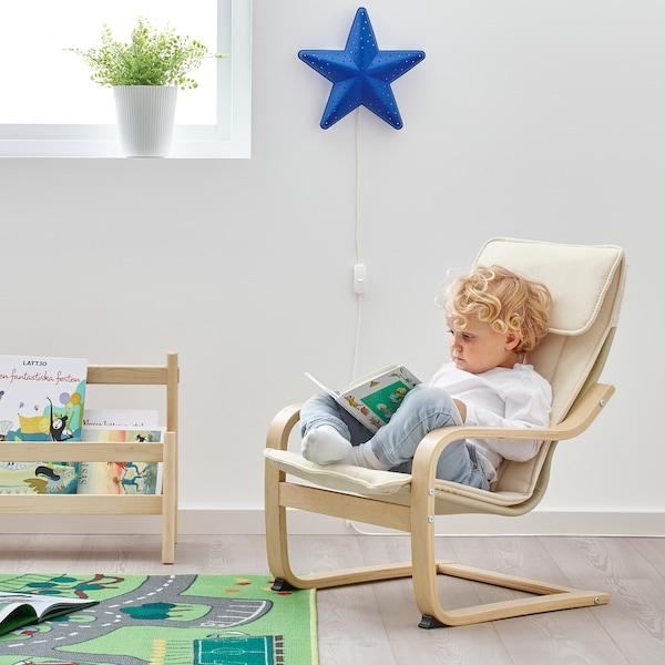 POÄNG children's armchair birch veneer/Almås beige 47 cm 56 cm 68 cm 38 cm 36 cm 24 cm