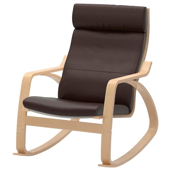 Ikea Poang Draaifauteuil.Poang Rocking Chair Birch Veneer Robust Glose Dark Brown Ikea
