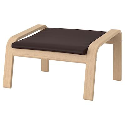 POÄNG Footstool, white stained oak veneer/Glose dark brown