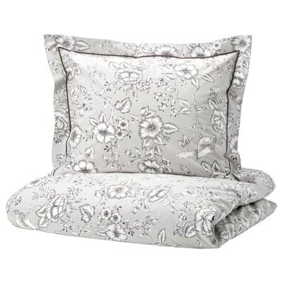 PRAKTBRÄCKA Quilt cover and 2 pillowcases, light grey/white, 200x200/60x70 cm