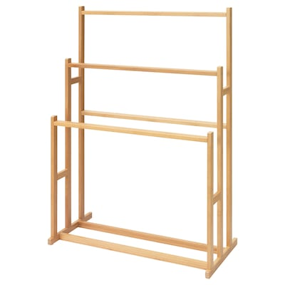 RÅGRUND Towel stand with 3 rails, bamboo