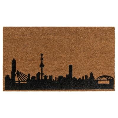 RÅSTED Door mat, natural/black, 40x70 cm