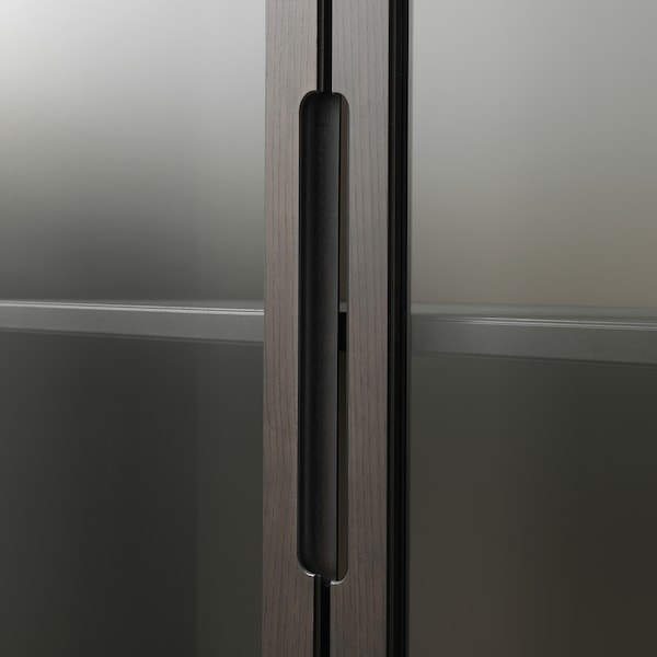 REGISSÖR Glass-door cabinet, brown, 118x203 cm