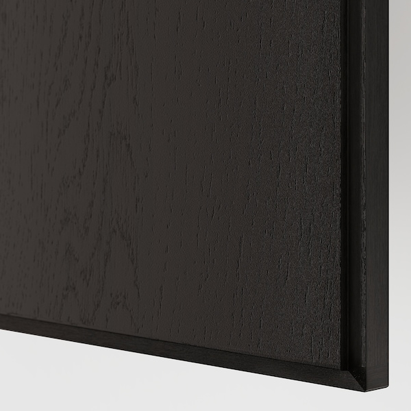 REPVÅG Door with hinges, black-brown stained oak veneer, 50x229 cm