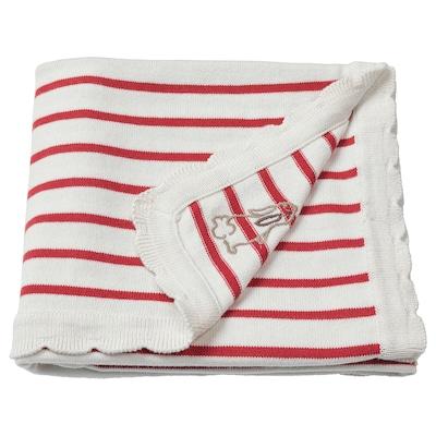 RÖDHAKE Blanket, striped/white/red, 80x100 cm