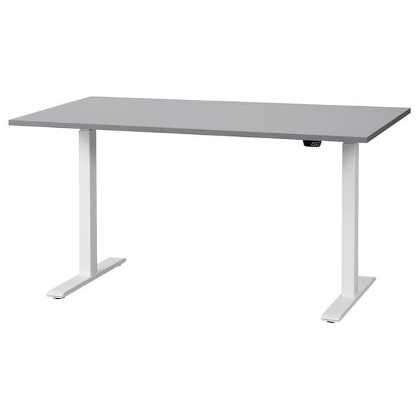 RODULF Desk sit/stand, grey/white, 140x80 cm