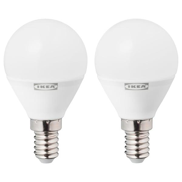 RYET LED bulb E14 470 lumen, globe opal white