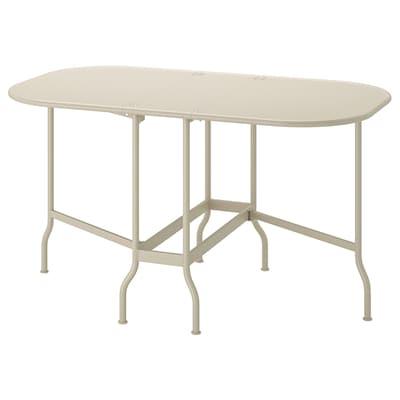 SALTHOLMEN gateleg table, outdoor beige 77 cm 24 cm 130 cm 74 cm 72 cm