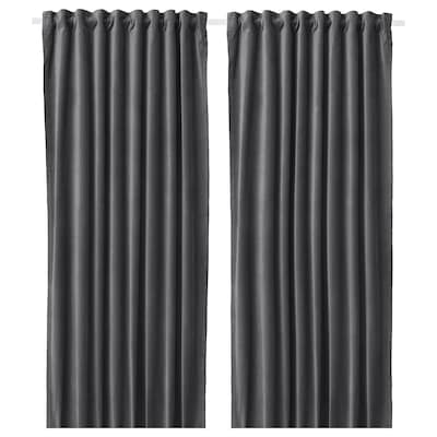 SANELA Room darkening curtains, 1 pair, dark grey, 140x300 cm