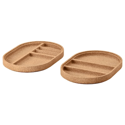 SAXBORGA tray, set of 2 cork 25 cm 17 cm 2 cm