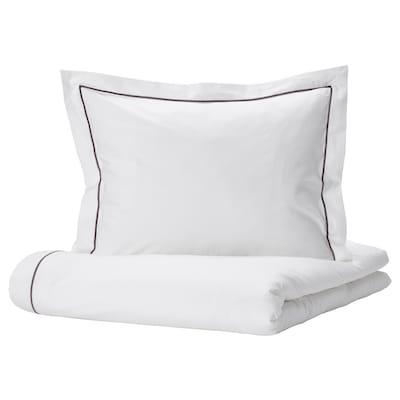 SILVERTISTEL Duvet cover and 2 pillowcases, white/dark grey, 240x220/60x70 cm