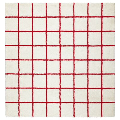 SIMESTED rug, high pile white/red 200 cm 200 cm 17 mm 4.00 m² 2500 g/m² 1490 g/m² 14 mm