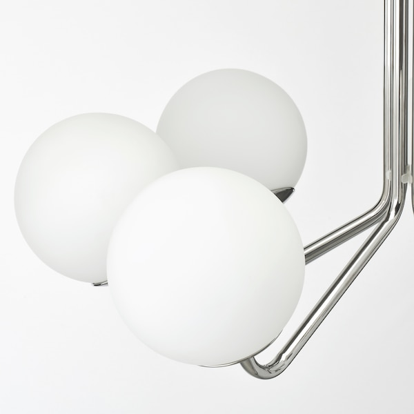 SIMRISHAMN chandelier, 7-armed chrome-plated/opal white glass 7 W 46 cm 70 cm 15 cm 105 cm
