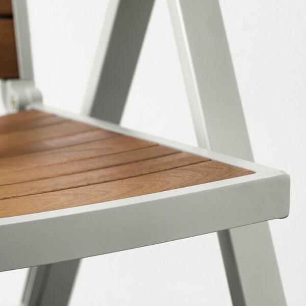 SJÄLLAND reclining chair, outdoor light grey foldable/light brown 110 kg 57 cm 75 cm 110 cm 45 cm 43 cm 42 cm