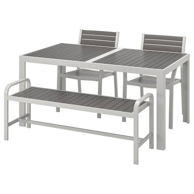 SJÄLLAND table+2 chrsw armr+ bench, outdoor dark grey