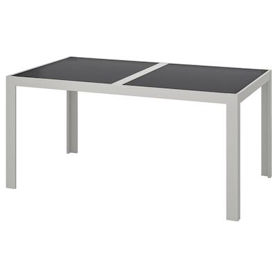 SJÄLLAND table, outdoor glass grey/light grey 156 cm 90 cm 73 cm