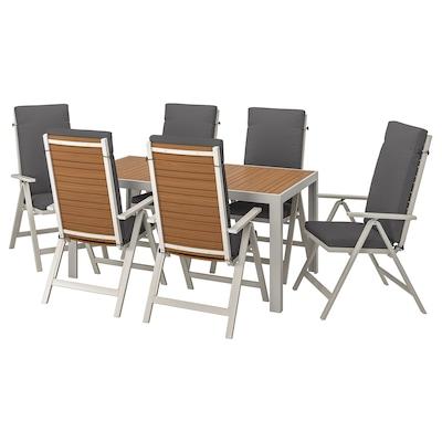 SJÄLLAND Table+6 reclining chairs, outdoor, light brown/Frösön/Duvholmen dark grey, 156x90 cm