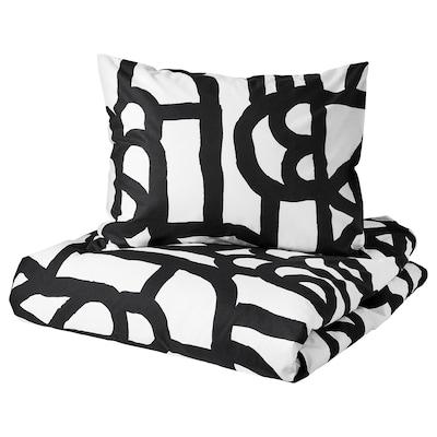 SKUGGBRÄCKA Quilt cover and 2 pillowcases, white/black, 200x200/60x70 cm