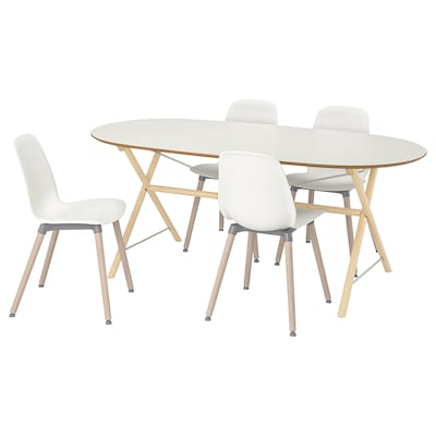 SLÄHULT/DALSHULT / LEIFARNE table and 4 chairs birch/white 185 cm 90 cm 73 cm