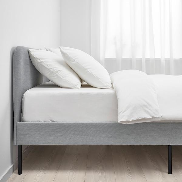 SLATTUM Upholstered bed frame, Knisa light grey, 140x200 cm