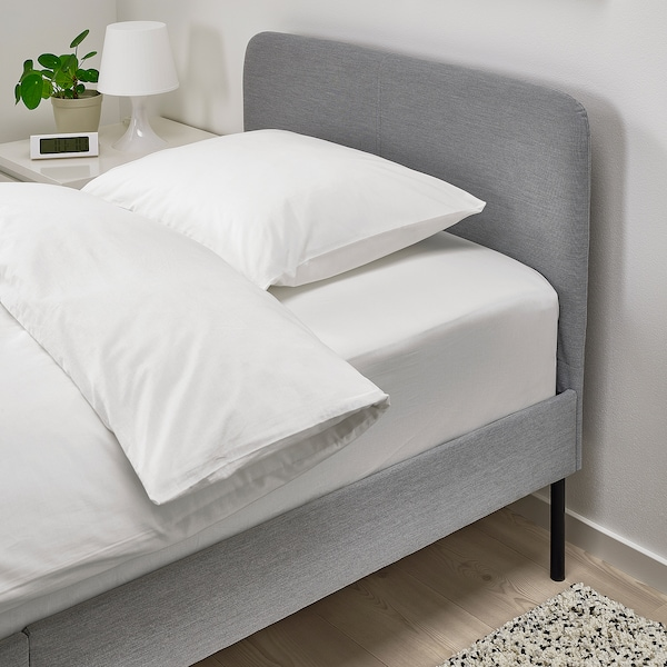 SLATTUM upholstered bed frame Knisa light grey 206 cm 94 cm 40 cm 85 cm 200 cm 90 cm