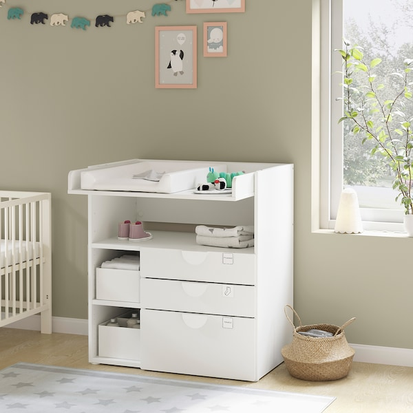 SMÅSTAD Changing table, white pale pink/with 3 drawers, 90x79x100 cm