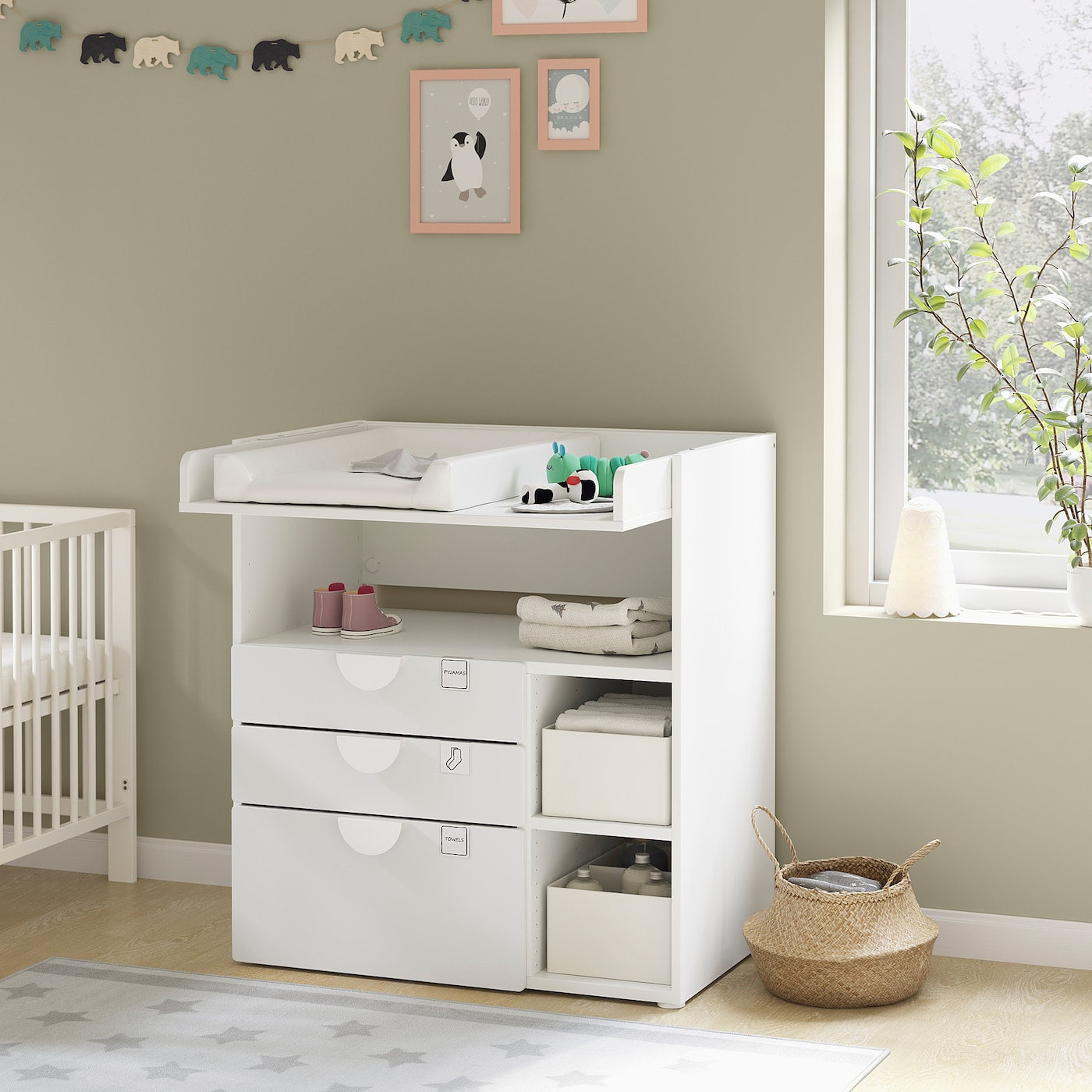 SMÅSTAD Changing table, white white/with 3 drawers, 90x79x100 cm