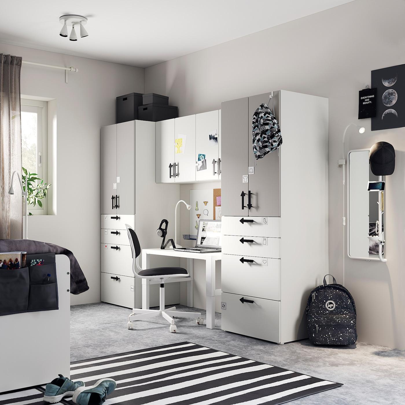 SMÅSTAD / PLATSA Storage combination, white/grey, 240x55x180 cm