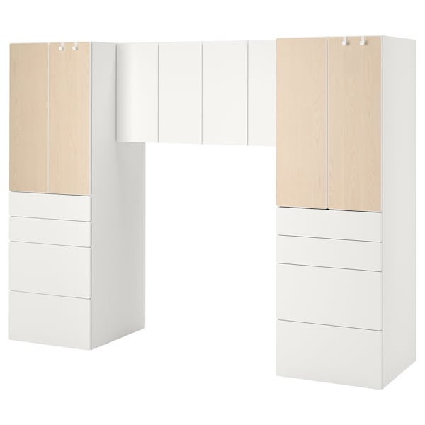 SMÅSTAD Storage combination, white/birch, 240x57x181 cm