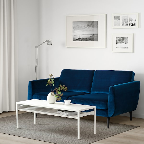 SMEDSTORP 3-seat sofa, Djuparp dark green-blue/black