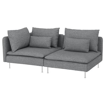 SÖDERHAMN 3-seat sofa, with open end/Lejde grey/black