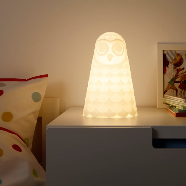 SOLBO LED table lamp, white/owl, 23 cm