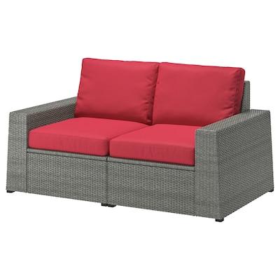 SOLLERÖN 2-seat modular sofa, outdoor dark grey/Frösön/Duvholmen red 161 cm 82 cm 88 cm 125 cm 48 cm 44 cm