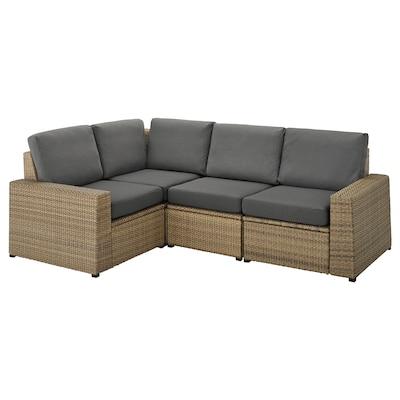 SOLLERÖN modular corner sofa 3-seat, outdoor brown/Frösön/Duvholmen dark grey 82 cm 88 cm 225 cm 162 cm 48 cm 44 cm