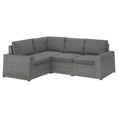 SOLLERÖN modular corner sofa 3-seat, outdoor dark grey/Frösön/Duvholmen dark grey 82 cm 88 cm 225 cm 162 cm 48 cm 44 cm