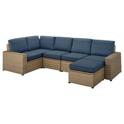 SOLLERÖN modular corner sofa 4-seat, outdoor with footstool brown/Frösön/Duvholmen blue 82 cm 88 cm 287 cm 162 cm 2 cm 48 cm 44 cm 62 cm 62 cm