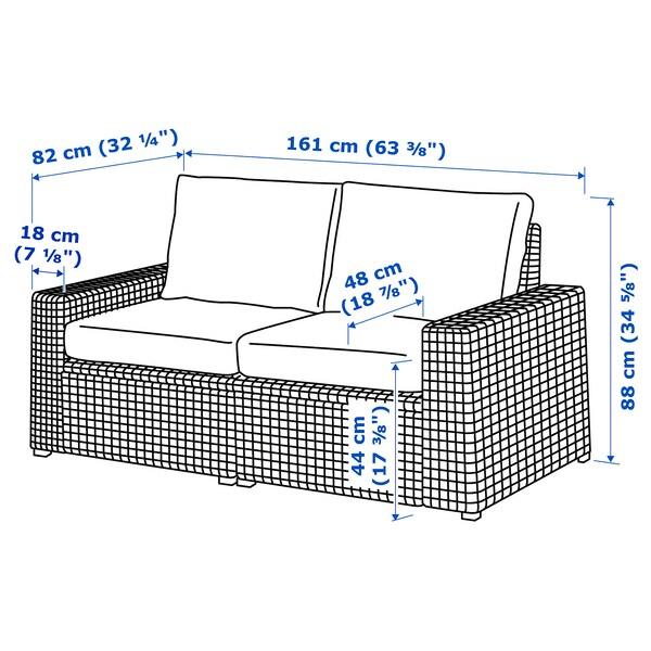 SOLLERÖN 2-seat modular sofa, outdoor, dark grey/Frösön/Duvholmen dark grey, 161x82x88 cm