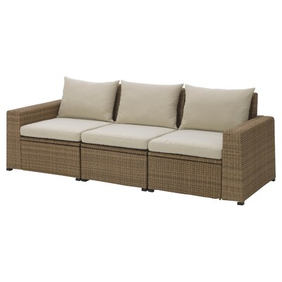 SOLLERÖN 3-seat modular sofa, outdoor, brown/Hållö beige, 223x82x82 cm