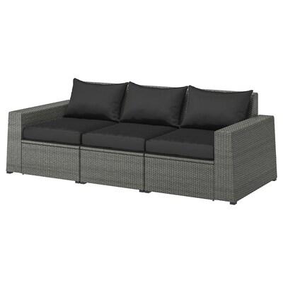 SOLLERÖN 3-seat modular sofa, outdoor, dark grey/Hållö black, 223x82x82 cm