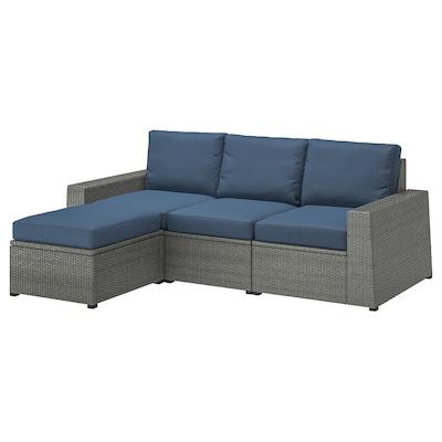 SOLLERÖN 3-seat modular sofa, outdoor, with footstool dark grey/Frösön/Duvholmen blue, 223x144x88 cm