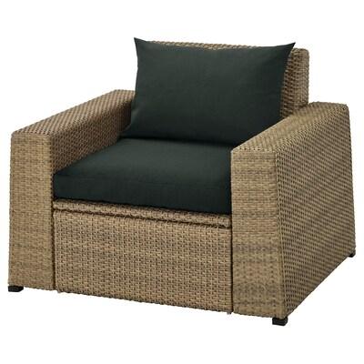 SOLLERÖN Armchair, outdoor, brown/Hållö black