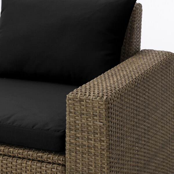 SOLLERÖN Armchair, outdoor, brown/Hållö black