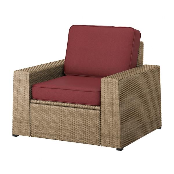 SOLLERÖN Armchair, outdoor, brown/Järpön/Duvholmen brown-red