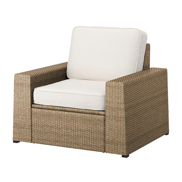 SOLLERÖN Armchair, outdoor, brown/Järpön/Duvholmen white