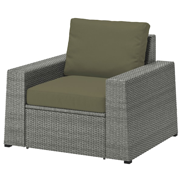 SOLLERÖN Armchair, outdoor, dark grey/Frösön/Duvholmen dark beige-green