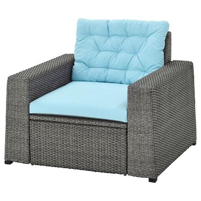 SOLLERÖN Armchair, outdoor, dark grey/Kuddarna light blue
