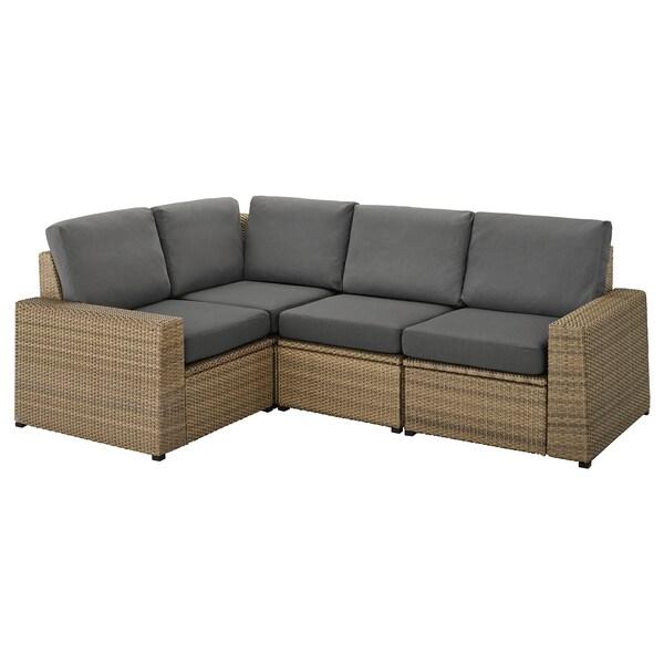 SOLLERÖN Modular corner sofa 3-seat, outdoor, brown/Frösön/Duvholmen dark grey