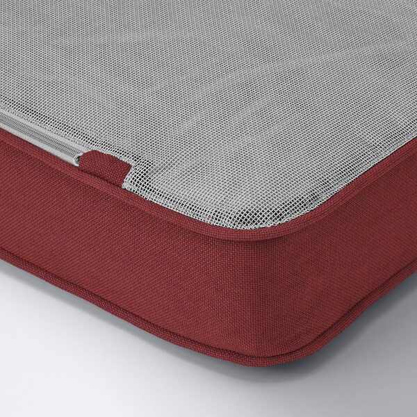 SOLLERÖN Modular corner sofa 4-seat, outdoor, with footstool dark grey/Järpön/Duvholmen brown-red